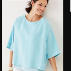 J.Jill yarn-dyed linen kimono top in capri blue